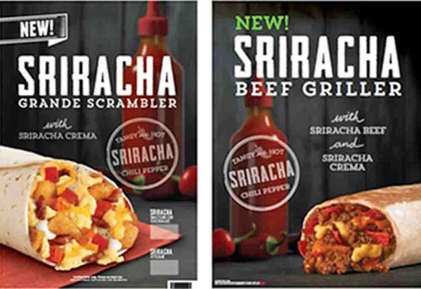 Taco Bell Sriracha menu