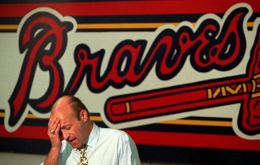 Atlanta Braves president Stan Kasten speaks to reporters in September 1994.