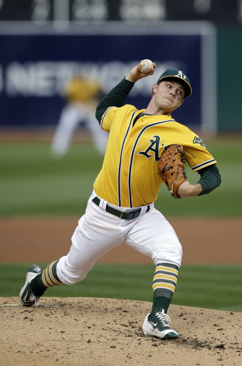Oakland Athletics starting pitcher Sonny Gray throws to the New York Yankees during the second inning of a baseball game Friday, May 20, 2016, in Oakland, Calif. (AP Photo/Marcio Jose Sanchez)