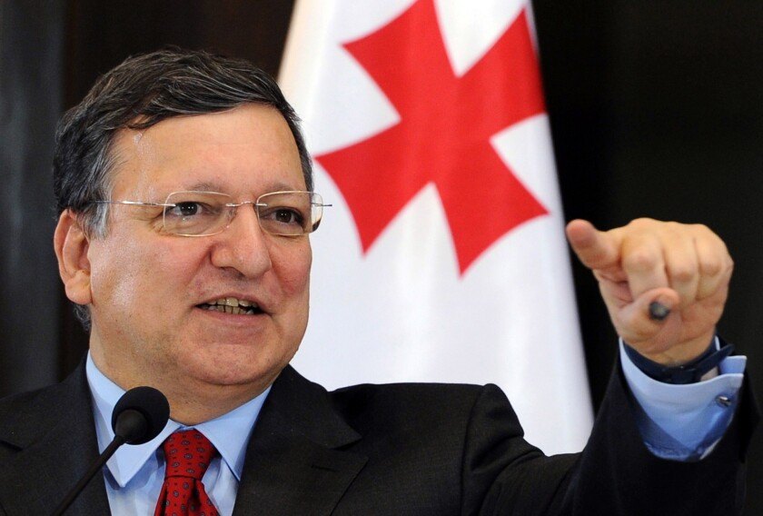 European Commission President Jose Manuel Barroso speaks during a news conference in Tbilisi.