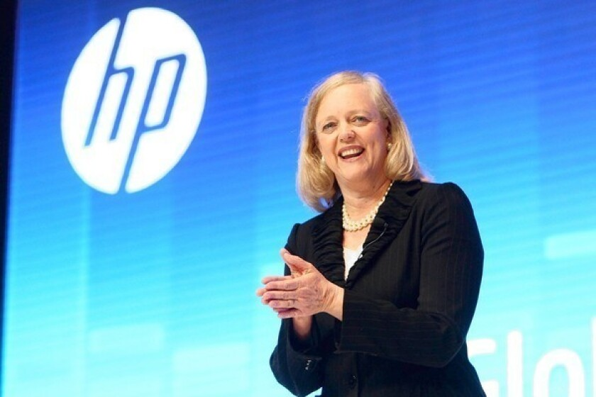Hewlett-Packard CEO Meg Whitman delivers a speech during the Global Influencer Summit 2012 in Shanghai.