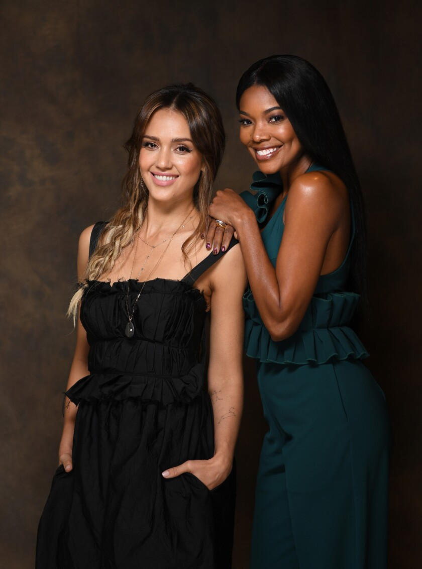 """LOS ANGELES, CALIFORNIA APRIL 17, 2019-Actresses Jessica Alba, left, and Gabrielle Union star in """"L."""