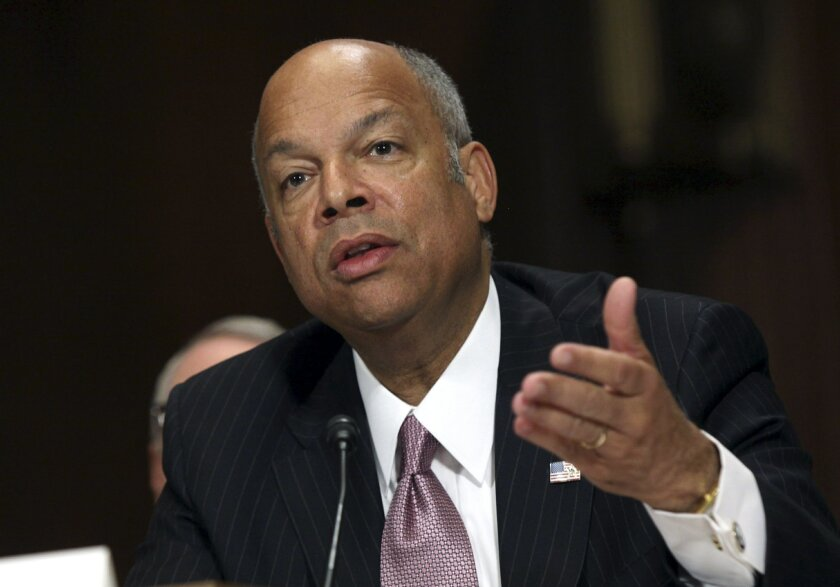 FILE - In this April 28, 2015, file photo, Homeland Security Secretary Jeh Johnson testifies on Capitol Hill in Washington, before the Senate Judiciary Committee on oversight of the department. Johnson on Monday, June 1, 2015, directed the Transportation Security Administration to revise airport se