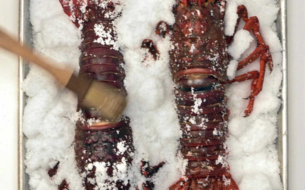 Salt-roasted spiny lobster with saffron aioli