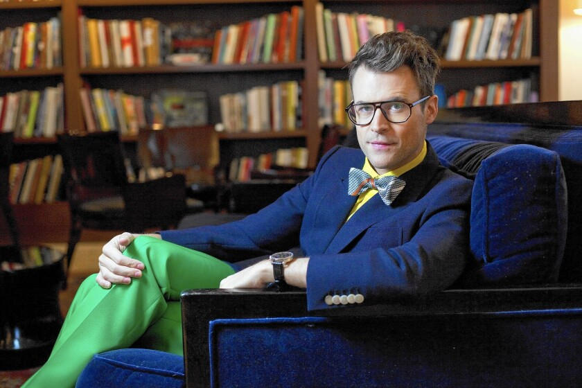 """""""Fashion Police"""" co-host and celebrity stylist Brad Goreski relaxes at the Mercer Hotel in New York."""