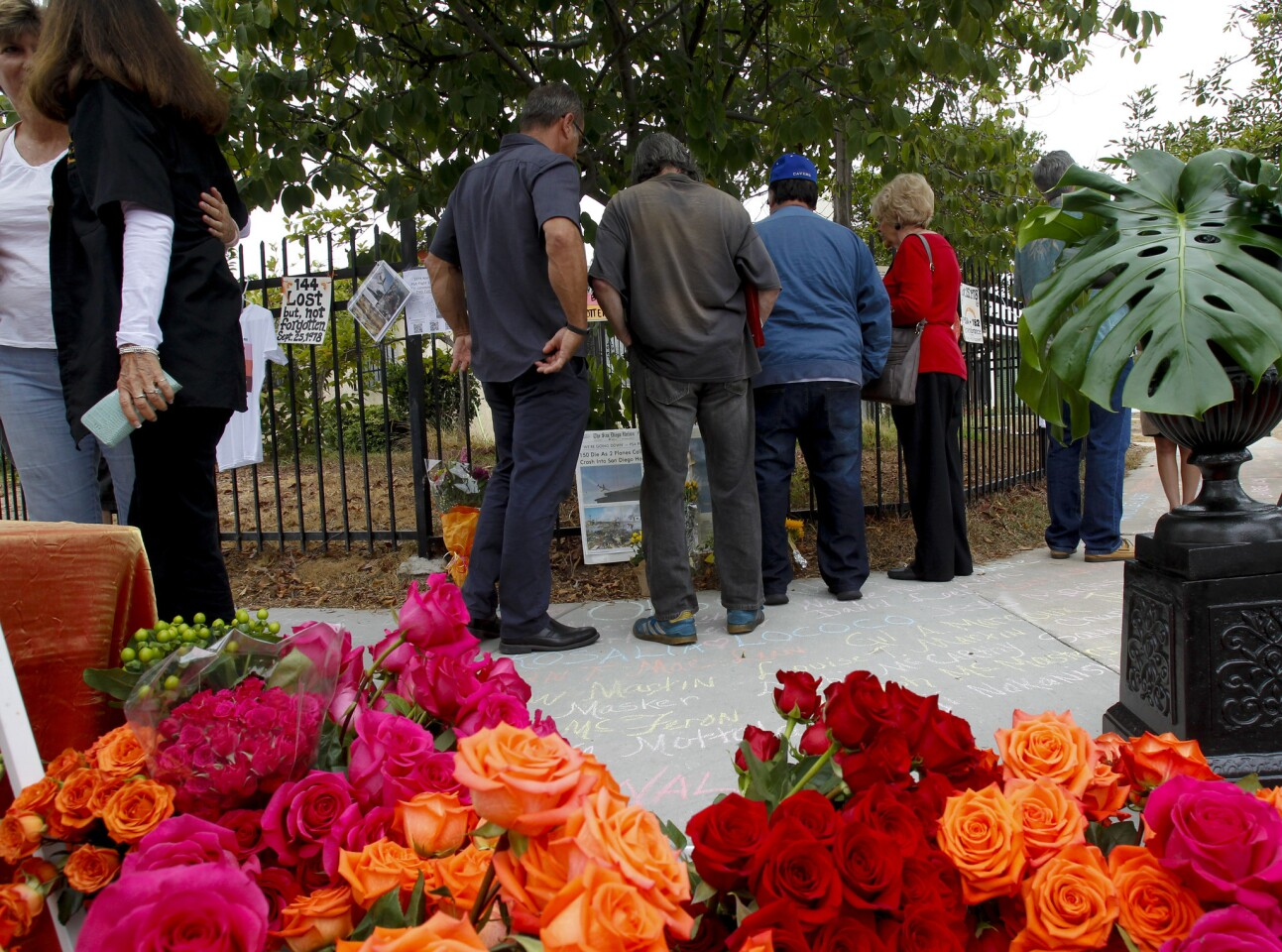The public was invited to visit the temporary memorial for the 40th anniversary for PSA Flight 182 mid air collision with a Cessna aircraft. Flight 182 was on approach to San Diego Airport on September 25th,1978 when it collided with the Cessna, killing 144 victims. The roses in the foreground would later be used to create a large bouquet to represent all 144 victims.