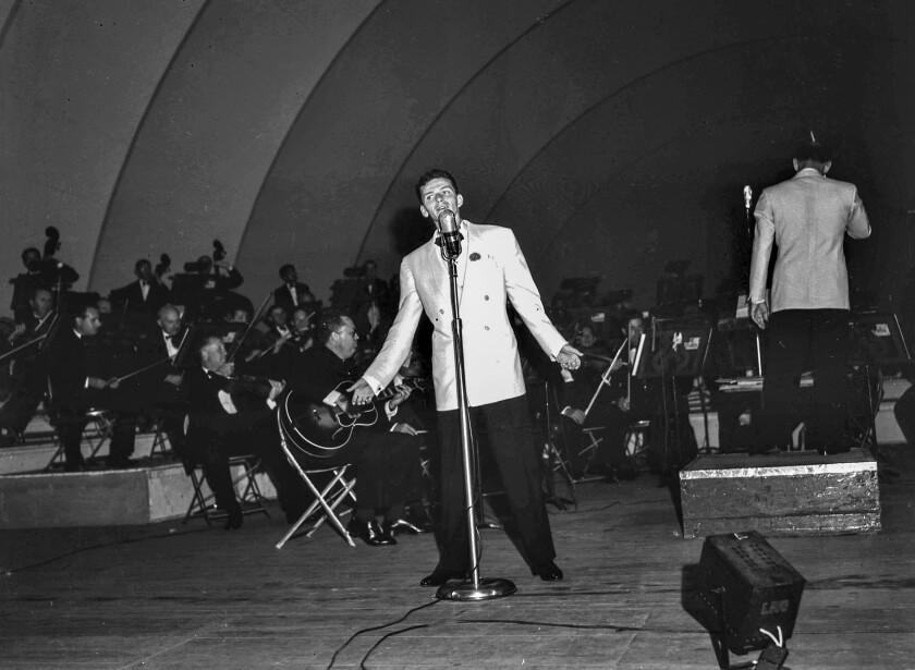 Aug. 14, 1943: Frank Sinatra performing at the Hollywood Bowl.