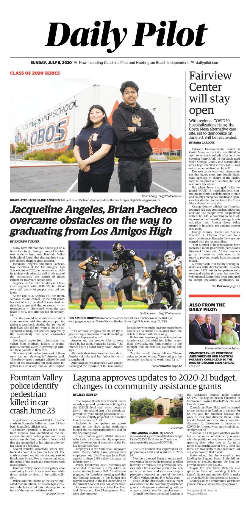 Daily Pilot e-Newspaper: Sunday, July 5, 2020 Cover