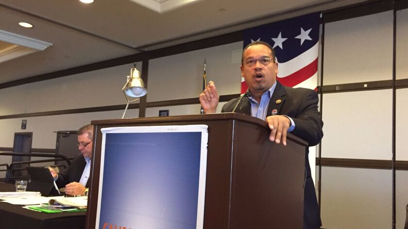 Rep. Keith Ellison of Minnesota, who is campaigning to be the next Democratic National Committee chair, tells California party leaders in San Diego on Saturday that Donald Trump was elected president because of poor Democratic turnout.