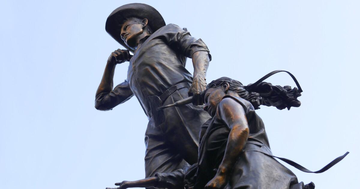 Denkmal zu Ehren 'braceros,' Mexikanische Wanderarbeiter, vorgestellt in downtown L. A.