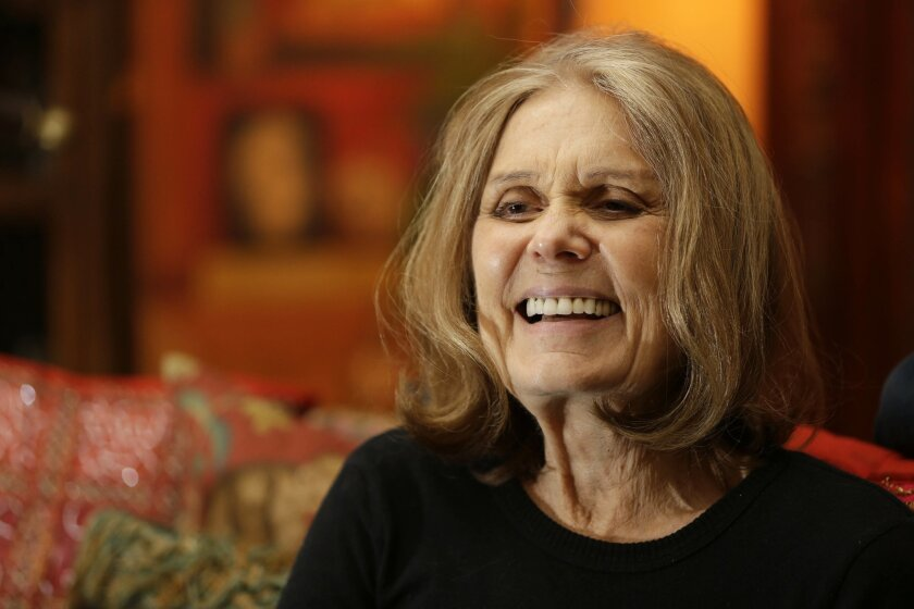 In this Monday, Oct. 19, 2015, photo, Gloria Steinem talks to a reporter at her home in New York. On Sunday, Nov. 1, 2015, Steinem was presented with the 2015 Richard C. Holbrooke Distinguished Achievement Award at the annual awards presentation, in Dayton, Ohio.  (AP Photo/Seth Wenig)