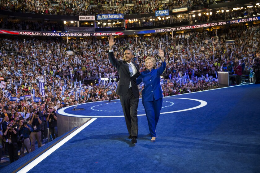Hillary and Barack Obama at the Democratic National Convention in 2016