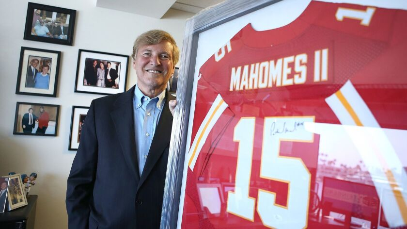 Newport Beach sports agent Leigh Steinberg, shown in 2018, will host an virtual agent academy for prospective sports agents on Monday and Tuesday. His clients include Super Bowl LIV MVP Patrick Mahomes.