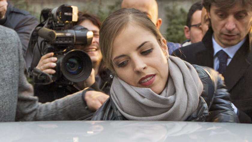 Carolina Kostner leaves at the end of a Jan. 16 hearing in her case at Rome's Olympic Stadium.