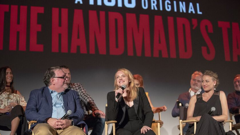 """Actress Elisabeth Moss talks during a discussion following the season 2 finale screening of """"The Handmaid's Tale"""" at The Wilshire Ebell Theater."""