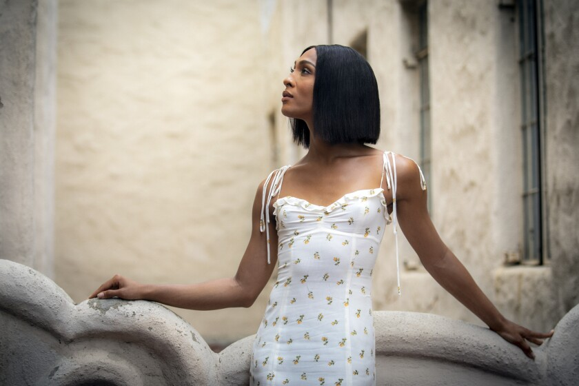 """Mj Rodriguez, star of the TV series """"Pose,"""" outside Pasadena Playhouse, where she plays Audrey in """"Little Shop of Horrors."""""""