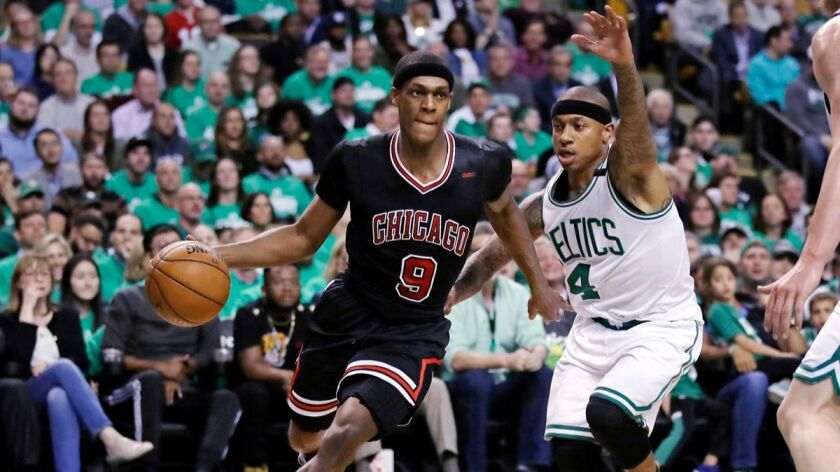 Chicago Bulls guard Rajon Rondo (9) drives towards the basket past Boston Celtics guard Isaiah Thomas (4) during the second quarter of a first-round NBA playoff game in Boston on April 18.