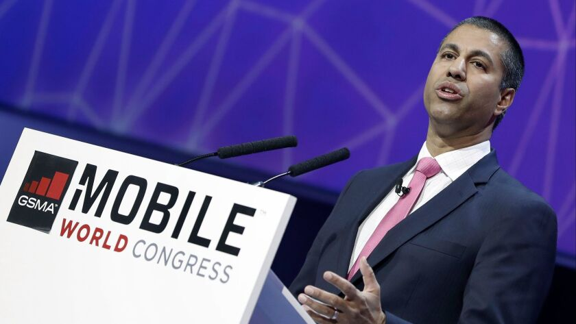 """""""Weed-whacker"""" in chief: FCC Chairman Ajit Pai explains his deregulatory philosophy to a Barcelona audience last month."""