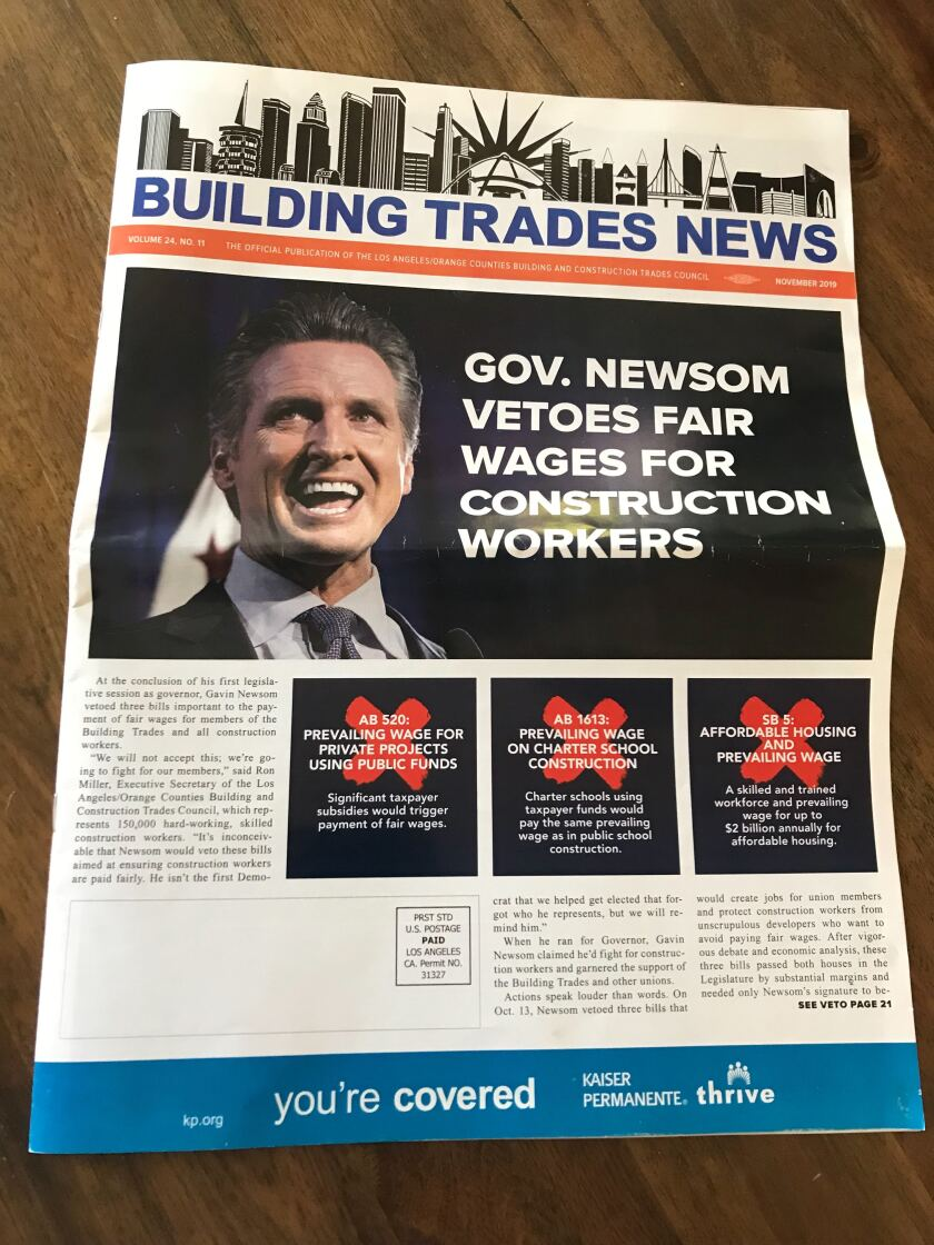 A copy of the Building Trades News handed out at the California Democratic Party convention in Long Beach.