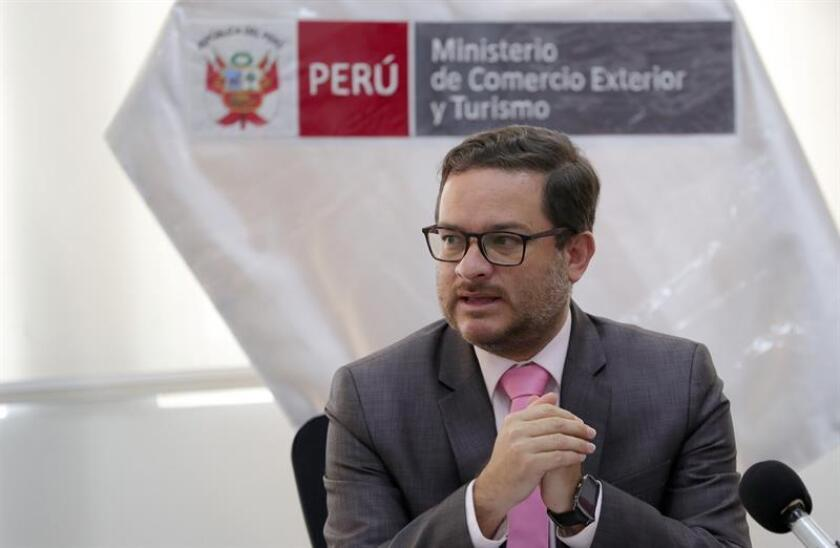 Peruvian Foreign Trade and Tourism Minister Edgar Vasquez speaks during a press conference, in Lima, Peru, on March 7, 2019. EPA-EFE / Ernesto Arias