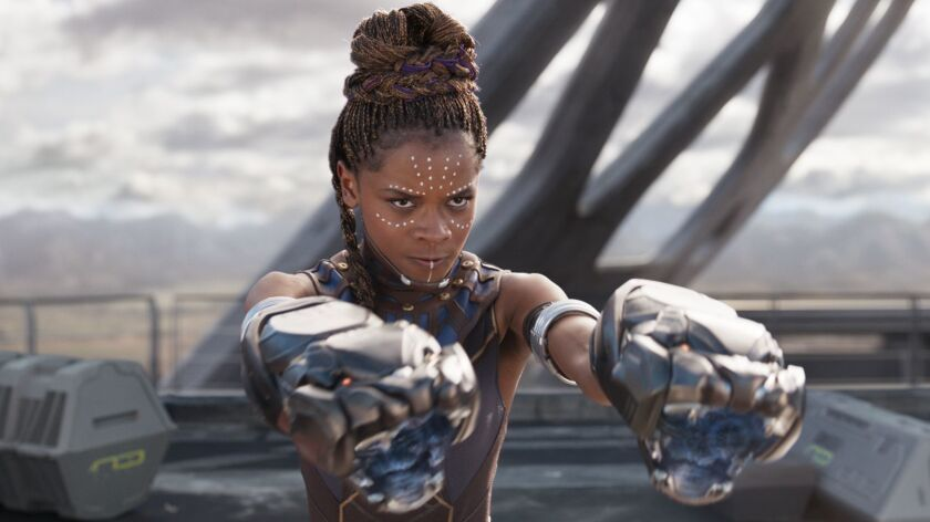 "Letitia Wright in a scene from ""Black Panther."""