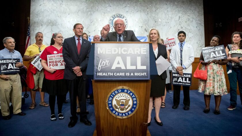 "Sen. Bernie Sanders speaks at a news conference on Capitol Hill in support of ""Medicare for All"" legislation on Sept. 13, 2017."