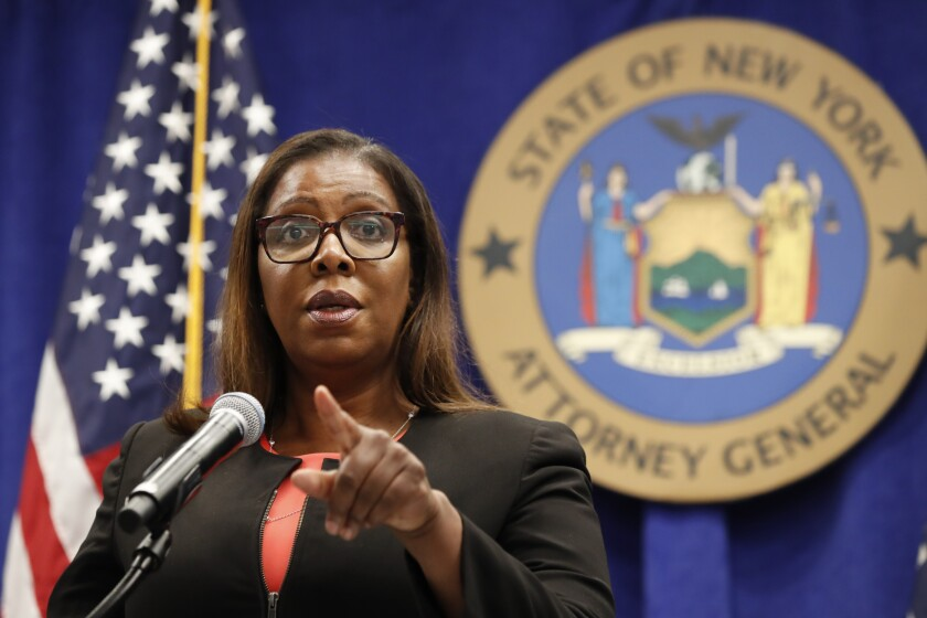 New York Atty. Gen. Letitia James takes a question after announcing that the state is suing NRA.