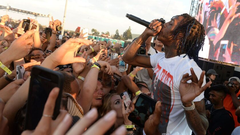 Rapper Famous Dex performs onstage during the Day N Night Festival at Angel Stadium on Sept. 8, 2017 in Anaheim.