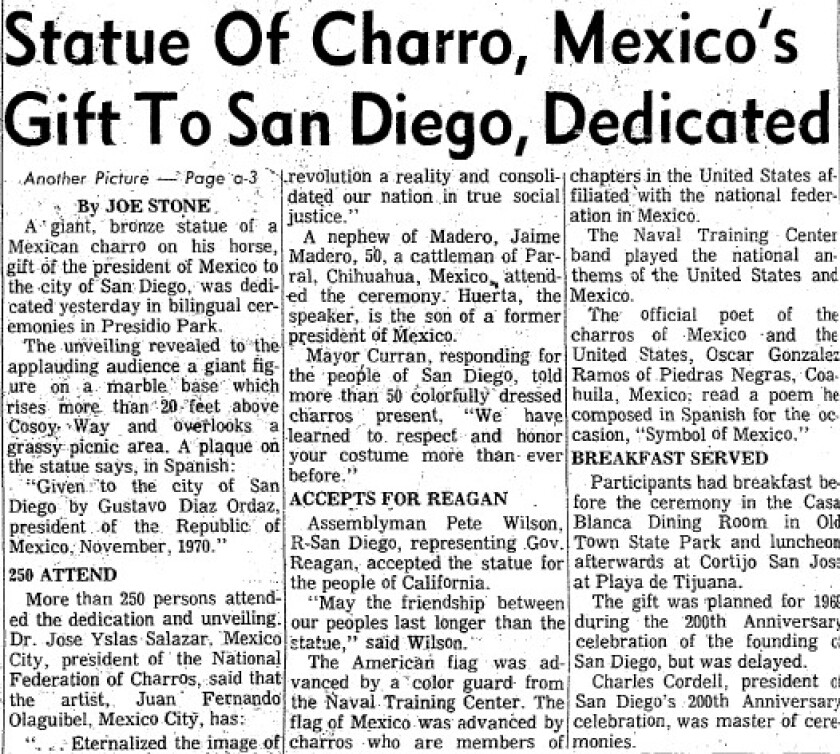 """Clip of a San Diego Union article with headline, """"Statue of Charro, Mexico's Gift to San Diego, Dedicated."""""""