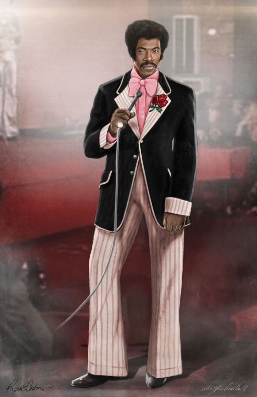 Concept art for Dolemite's pink and black pinstripe suit