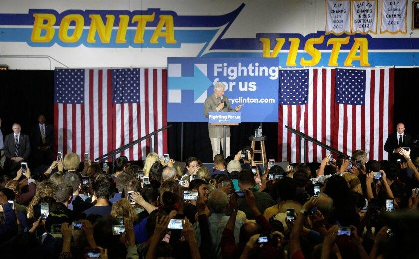 Hillary Clinton supporters pack the Bonita Vista High School gymnasium to listen to former President Bill Clinton speak.