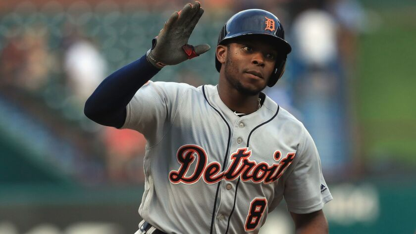 Detroit's Justin Upton runs the bases after a two-run homer against the Texas Rangers on Aug. 14.