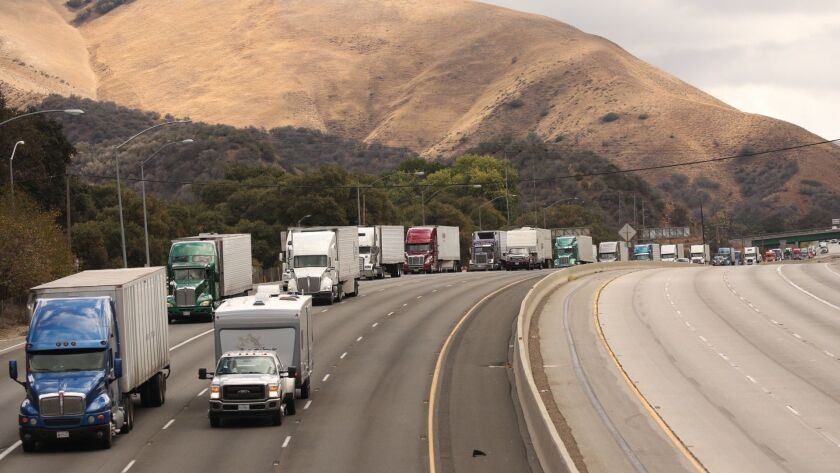Vehicles travel along the 5 Freeway through the Grapevine in 2015.