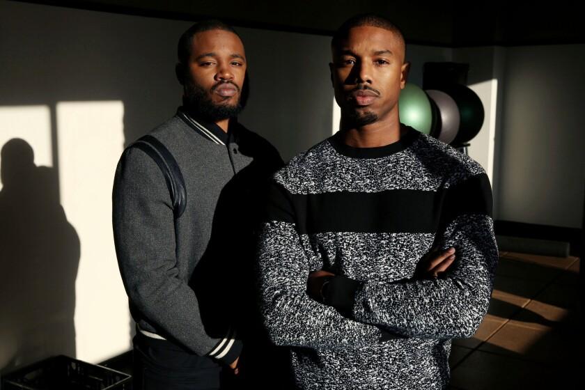Michael B. Jordan and Ryan Coogler pose during a 'Creed' photo shoot