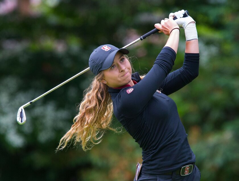 Stanford's Shannon Aubert watches her tee shot on the 3rd hole during the final round of the NCAA Division I women's golf championships at Eugene Country Club in Eugene, Ore. Wednesday, May 25, 2016. (Brian Davies/The Register-Guard via AP) MANDATORY CREDIT