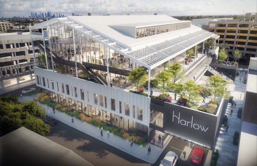 A rendering of Harlow, a $79-million office building under construction at Sunset Las Palmas Studios in Hollywood.