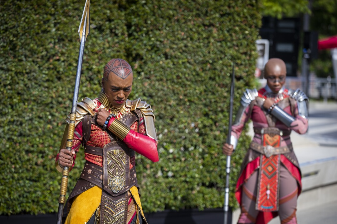 Black Panther's Dora Milaje perform during a media preview of Avengers Campus at California Adventure