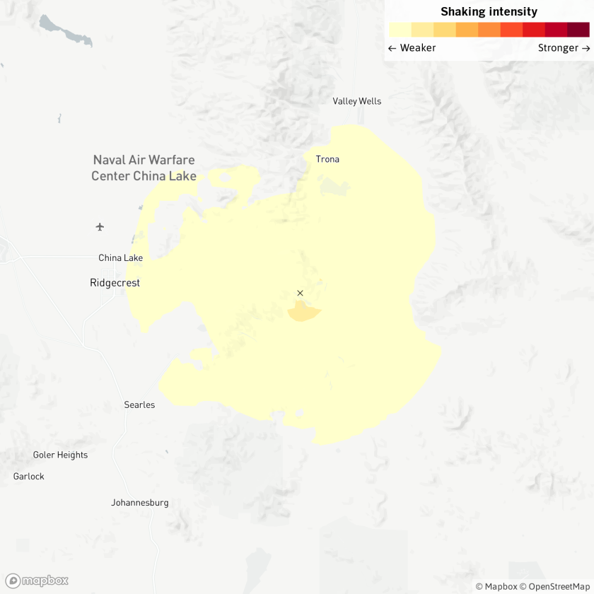 Map shows location of Ridgecrest, Calif., area earthquake.