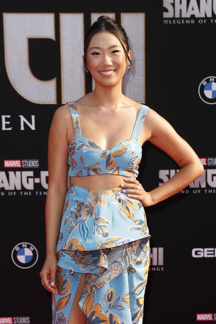 Olivia Liang en la alfombra roja de la premier de 'Shang-Chi and the Legend of the Ten Rings'.