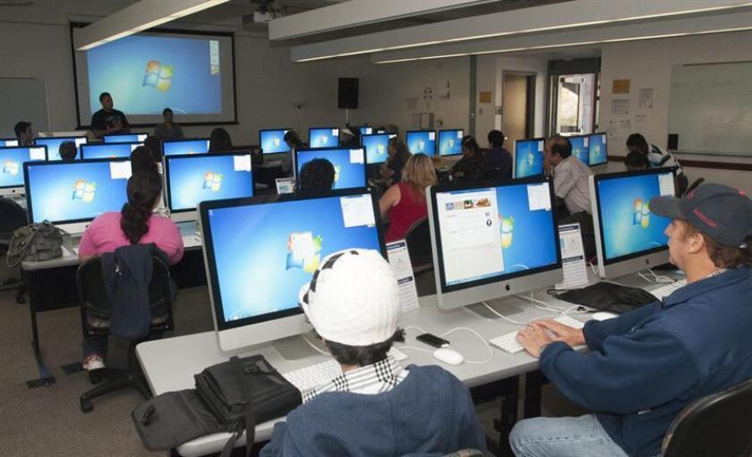 Vista de varias personas utilizando internet en computadoras. EFE/Archivo