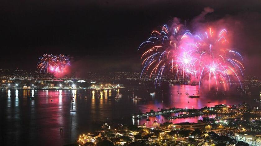 July 4, 2014_San Diego, California_USA_| The Big Bay Boom fireworks display lights up San Diego Harbor in this view looking north from the roof of the 25 story South Tower of the Marriott Marquis Hotel on the bay.|_Mandatory Photo Credit: Photo by Charlie Neuman/UT San Diego/Copyright 2014 San Diego Union-Tribune, LLC (UT San Diego/Zuma Press)