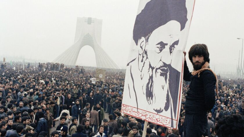 FILE - In this Oct. 9, 1978 file photo, Iranian protesters demonstrate against Shah Mohammad Reza Pa