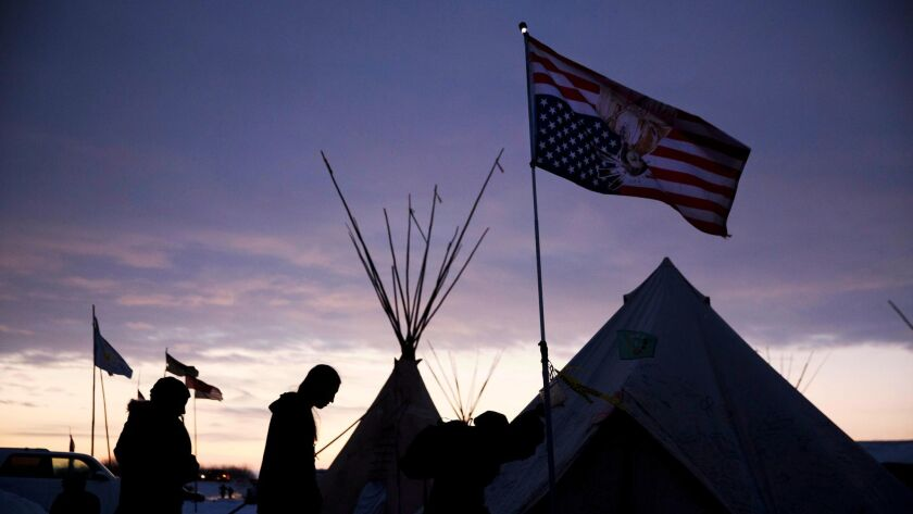 Pipeline protesters in North Dakota last month.