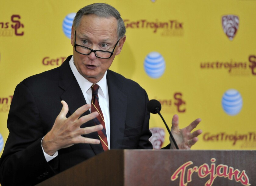 USC Athletic Director Pat Haden speaks at a news conference on Oct. 23.