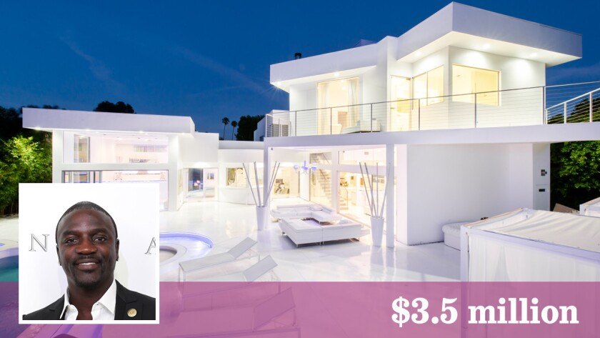 Akon, the R&B/hip-hop singer and record producer, has listed his home in Woodland Hills at $3.5 million.