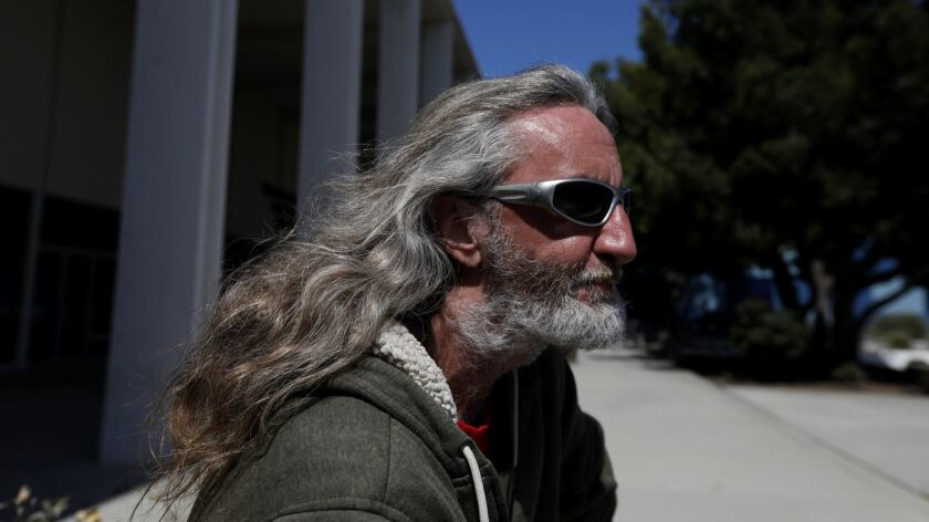 MALIBU, CA MAY 15, 2018: Bill Witter, 45, sits outside the old Malibu Court House and library in