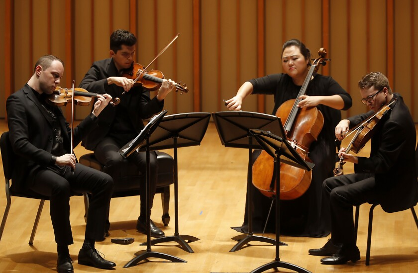 The Calidore String Quartet, from left, violinist Jeffrey Myers, violinist Ryan Meehan, cellist Estelle Choi and violist Jeremy Berry. They began the Colburn School's complete Beethoven quartet cycle at Zipper Hall on Wednesday.