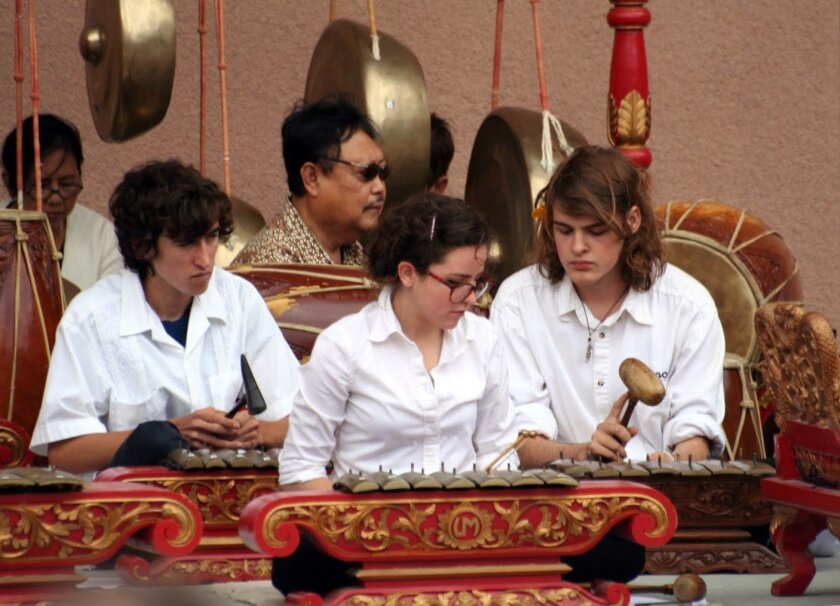 Some of the members of Canyon Crest Academy's gamelan orchestra are shown in performance. Thanks to its gamelan, the high school in Carmel Valley has earned  a 2011 Grammy Signature School Enterprise Award.