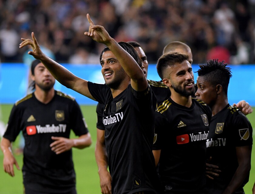 Carlos Vela of Los Angeles Football Club celebrates a goal