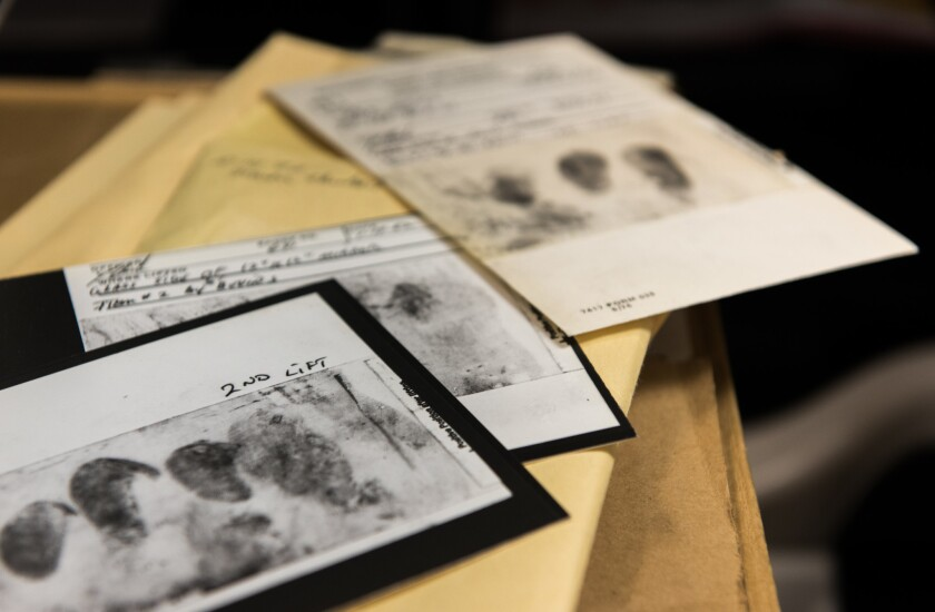 Among the evidence collected in the cold case are fingerprints lifted from crime scenes, shoe treads